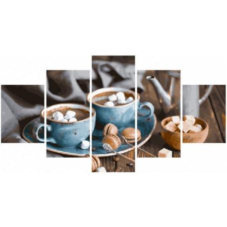 Кофе на двоих, раскраска по номерам холст Модульная 2шт 30х40см 2шт30х60см 1шт 30х80см 44цв Original