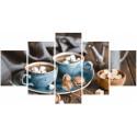 Кофе на двоих, картина по номерам холст Модульная 2шт 30х40см 2шт30х60см 1шт 30х80см 44цв Original