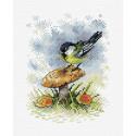 На грибной опушке, набор для вышивания 16х12см 19цветов Жар-птица