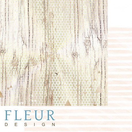 Золото на дереве, коллекция Pretty pink, бумага для скрапбукинга 30x30см, 190г/м Fleur Design