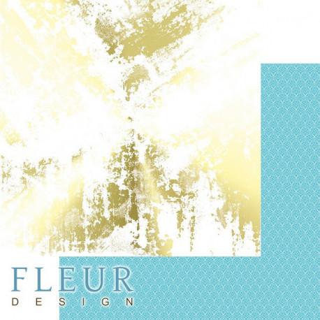 Золотой гранж, коллекция Pretty tiffany, бумага для скрапбукинга 30x30см, 190г/м Fleur Design