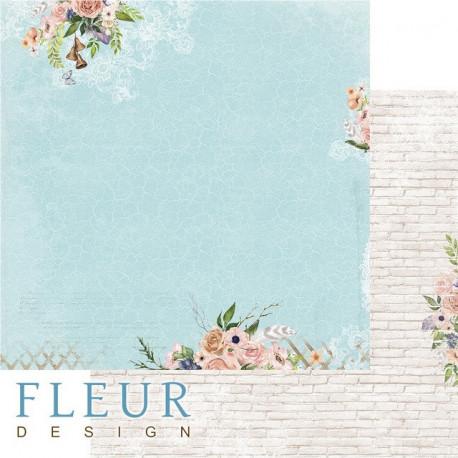 Бирюза, коллекция Очарование, бумага для скрапбукинга 30x30см, 190г/м Fleur Design