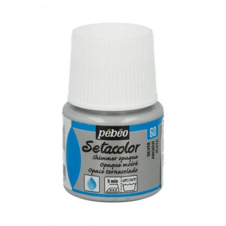Под серебро, мерцающая краска для темных и светлых тканей Setacolor 45мл PEBEO краска по ткани