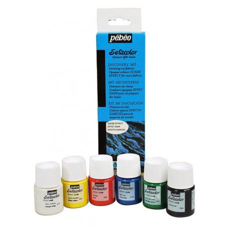 Набор красок с эффектом замши для темных и светлых тканей Setacolor 6цв по 20мл PEBEO по ткани