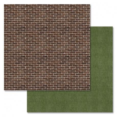 Кирпичная стена, коллекция Дембельский альбом, бумага для скрапбукинга 30,5x30,5см 180г/м ScrapMania