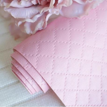 Розовый стеганый ромбами, кожа искусственная 33х69(±1см) толщина 1мм