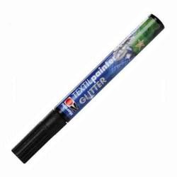 Черный блестящий, маркер по ткани 3мм Textil Glitter Marabu