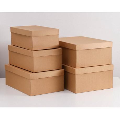 Прямоугольная коробка картонная самая малая крафт 36х22х14см