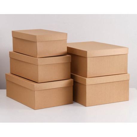 Прямоугольная коробка картонная малая крафт 40*24*15см