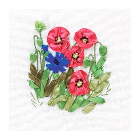Маки и васильки, набор для вышивания лентами 11х213см 5цветов Panna