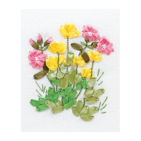 Лютики и медуница, набор для вышивания мулине и лентами 11х13см 5+3цветов Panna