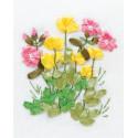 Лютики и медуница, набор для вышивания мулине и лентами, 11х13см, 5+3цветов Panna