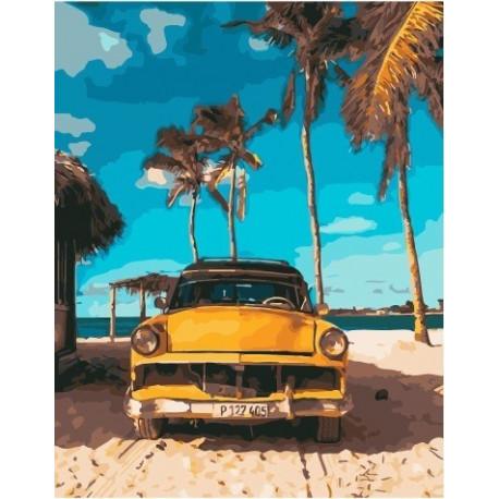 Пляжное такси, раскраска по номерам на холсте 40х50см 26цв ...