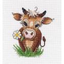 Символ года. Бычок-2, набор для вышивания крестиком, 16х16см, мулине хлопок 15цветов Овен
