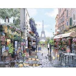 Париж Весной, картина круглыми стразами 50х40см 30цв полная выкладка на подрамнике TS
