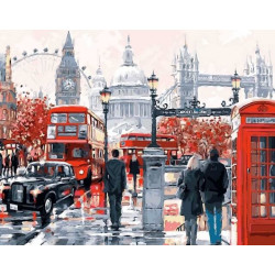 Очарование Лондона, картина круглыми стразами 40х50см 20цв полная выкладка на подрамнике TS