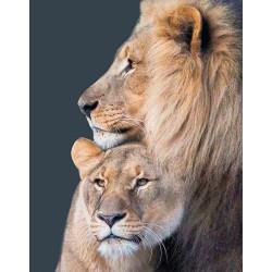 Львиная семья, картина круглыми стразами 40х50см 25цв полная выкладка на подрамнике TS