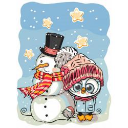 Зимние забавы, набор для раскрашивания по номерам на картоне 30х40см