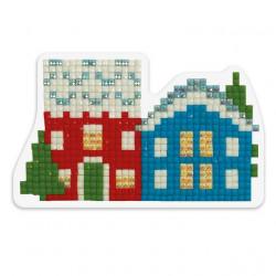 Зимние домики, кристальная мозаика магнит 9x5,5см, полное заполнение Фрея