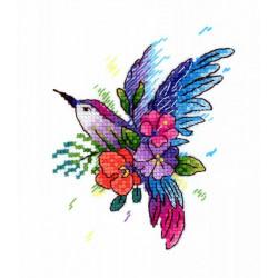 Райская птичка, набор для вышивания крестиком на одежде 11х9см 21цвет Жар-птица