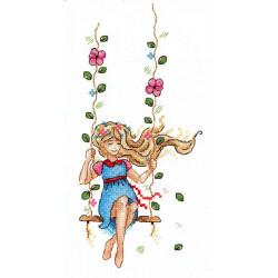 Мечтательница, набор для вышивания крестиком на одежде 10х18см 16цветов Жар-птица