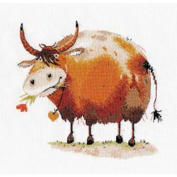 Символ года. Бычок-1, набор для вышивания крестиком, 16х16см, мулине хлопок 15цветов Овен