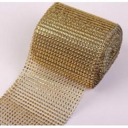 Золото, имитация страз на ленте 24 круглых стразы в ширине 12см 1м АУ