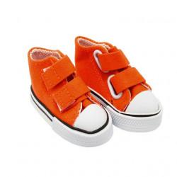 Кеды оранжевые на липучке, длина стопы 7,5см высота 4,5см. Кукольная обувь