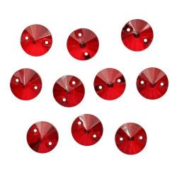 Красный круглые, стразы стеклянные пришивные 10мм 10шт Астра