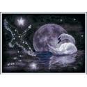 Лунный лебедь, набор для вышивания крестиком 29х21см 7цветов Panna