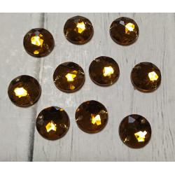 Золотистый круглые наветта, стразы акриловые пришивные 10мм 10шт АР