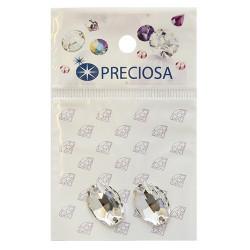 Прозрачный овал, стразы пришивные стекло 16х11мм 2шт Crystal Preciosa 551795 АР