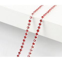 Красный, цепочка из стеклянных страз в цапах(серебро) 2мм SS06, 1м