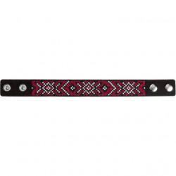 Браслет, набор для вышивания нитками на перфорированном кожзаме 2,2х22см 3цв ВС