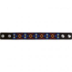 Браслет, набор для вышивания нитками на перфорированном кожзаме 2,2х22см 6цв ВС