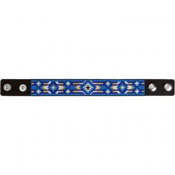Браслет, набор для вышивания нитками на перфорированном кожзаме 2,2х22см 4цв ВС