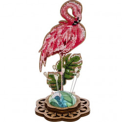 Игольница - Фламинго, набор для вышивания бисером на перфорированной основе фанера 10х19,5см 8цв ВС