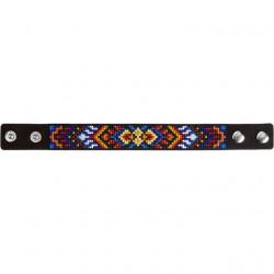 Браслет, набор для вышивания нитками на перфорированном кожзаме 2,2х22см 7цв ВС