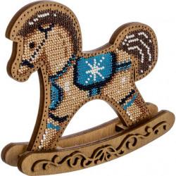 Лошадка-качалка, набор для вышивания бисером на перфорированной основе фанера 14,5х13см 8цв ВС