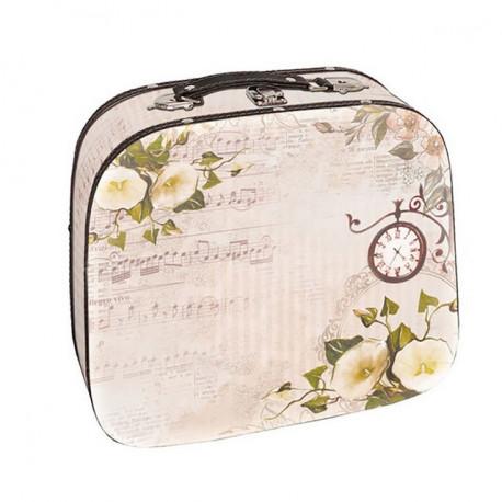 Время любви, декоративная шкатулка-чемоданчик 25х21х7,5см дерево-текстиль