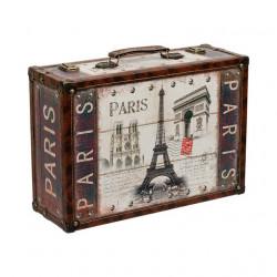Paris, декоративная шкатулка-чемоданчик 39х27х14см дерево-текстиль