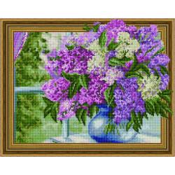 Сирень у летнего окна, алмазная мозаика 3D 40х50см 29цв полная выкладка PO