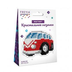 Автобус, кристальная мозаика магнит 8,5x6,5см, полное заполнение Фрея
