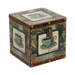 Чашка, декоративная шкатулка-сундучок 18х18х18см дерево-текстиль