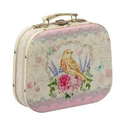 Соловей в цветах, декоративная шкатулка-чемоданчик 25х21х7,5см дерево-текстиль