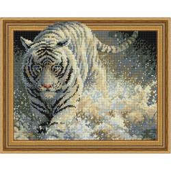 Белый тигр и брызги, алмазная мозаика 3D 40х50см 23цв полная выкладка PO