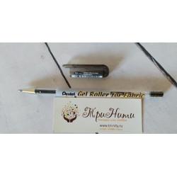 Черный, гелевая ручка по ткани 1мм Pentel Gel Roller BN15