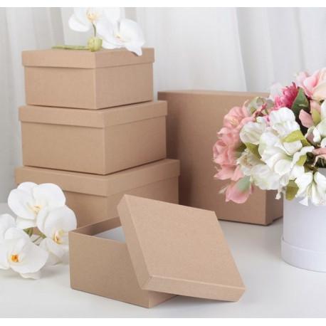 Квадратная коробка картонная малая крафт 15,5*15,5*8,5см