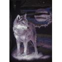 Белый волк, набор для вышивания крестиком 25х36см 7цветов Panna
