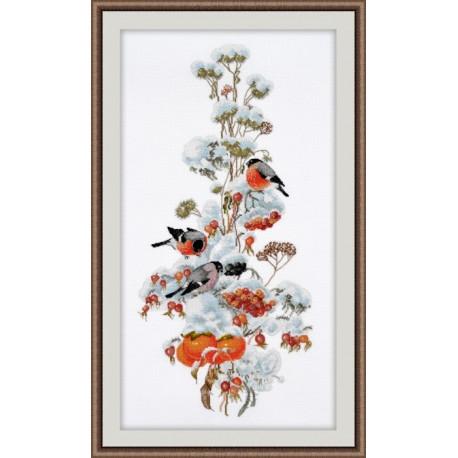 Зимняя композиция, набор для вышивания крестиком, 20х44см, мулине хлопок 32цвета Овен